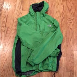 The North Face lime green unisex rain jacket!